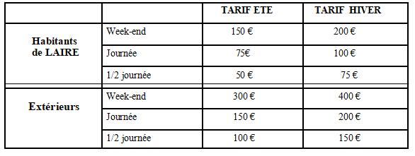 tarif location salle des fetes laire
